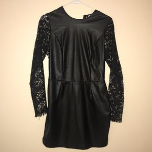 bc130bd53144 ... Black Vegan Leather and Lace Dress ...